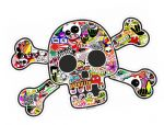 Pirate Style SKULL & CROSSBONES With Colour JDM Style Stickerbomb Motif External Vinyl Car Sticker 128x84mm